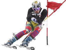 Un skieur de compétition (ski alpin)