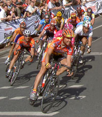 Le peleton d'une course de vélo
